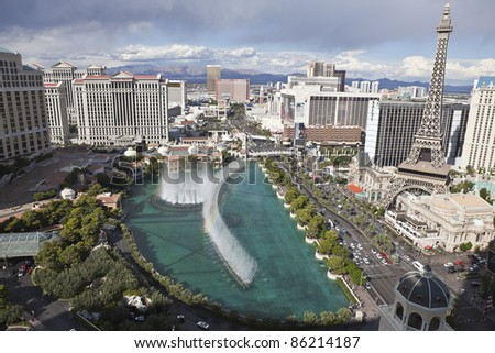 LAS VEGAS, NEVADA - OCT 6: Bellagio, Caesars Palace, Paris and other resorts on the strip on October 6, 2011 in Las Vegas, Nevada. Vegas has 147,611 hotel rooms with a average daily rate of $106.