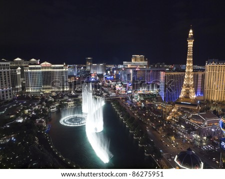 LAS VEGAS, NEVADA - OCT. 6:  Caesars Palace, Bellagio and Paris resorts on the strip on October 6, 2011 in Las Vegas, Nevada. Vegas has 147,611 hotel rooms with a average daily rate of $106.
