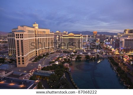 LAS VEGAS, NEVADA - OCT. 7:  Caesars Palace, Bellagio and the Flamingo resorts on the strip on Oct 7, 2011 in Las Vegas, Nevada. Vegas has 147,611 hotel rooms with a average daily rate of $106.