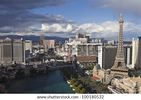 LAS VEGAS, NEVADA - OCT 6: Paris, Flamingo and other resorts on the strip. Vegas has 147,611 hotel rooms with a average daily rate of $106 on October 6, 2011 in Las Vegas, Nevada.