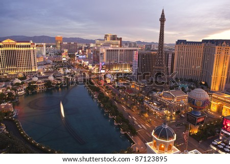 LAS VEGAS, NEVADA - OCTOBER 7:  Caesars Palace, Paris and the Flamingo resorts are located on what is know as the Vegas strip on October 7, 2011 in Las Vegas, Nevada.. Vegas has 147,611 hotel rooms with a average daily rate of $106.