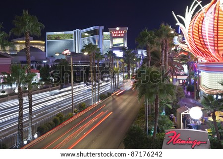 LAS VEGAS, NEVADA - OCTOBER 21:  Flamingo, Caesars Palace, the Mirage resorts on the strip. Vegas has 147,611 hotel rooms with a average daily rate of $106 on October 21, 2011 in Las Vegas, Nevada.