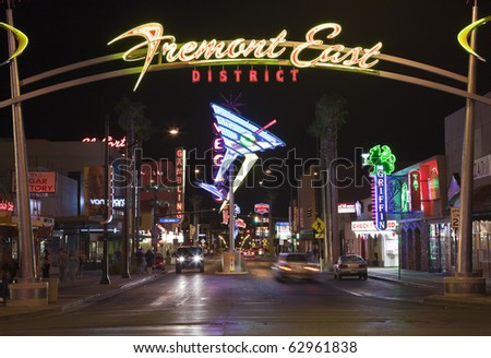 LAS VEGAS, NEVADA - OCTOBER 10:  Restored giant neon signs successfully attract tourists to the newly revitalized Fremont Street East district in downtown, October 10, 2010 in Las Vegas, Nevada.
