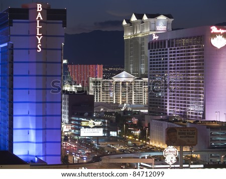 LAS VEGAS, NEVADA - SEPT 7: Caesars Palace, Ballys and the Flamingo resorts on the strip. Vegas has 147,611 hotel rooms with a average daily rate of $106 on September 7, 2011 in Las Vegas, Nevada.