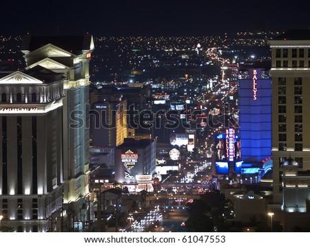 "LAS VEGAS NEVADA - SEPTEMBER 12:  Landmark casino ""Ceasars Palace"" glows brightly at Flamingo Blvd at Las Vegas Blvd on September 12, 2010 in Las Vegas Nevada - stock photo"