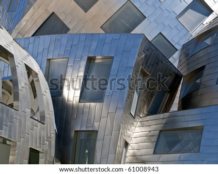 """LAS VEGAS NEVADA - SEPTEMBER 12:  Modernist architect Frank Gehry's new creation """"The Cleveland Clinic Lou Ruvo Center for Brain Health"""" shines brightly on Sept. 12, 2010 in Las Vegas Nevada."""