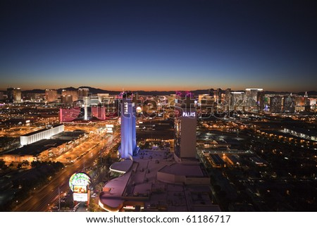 LAS VEGAS, NEVADA - SEPTEMBER 13:  Warm dawn light greets the popular and trendy Palms Hotel and new resorts along the strip on September 13, 2010 in Las Vegas, Nevada.