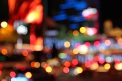 Las Vegas, Nevada, United States. Defocused city lights - colorful night view.
