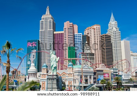 LAS VEGAS, NEVADA, USA - CIRCA APRIL 2011: New York - New York Hotel & Casino. New York New York is a luxury hotel and casino located on the Las Vegas Strip