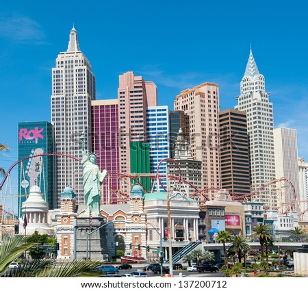 LAS VEGAS, NEVADA, USA - CIRCA APRIL 2011: New York - New York Hotel & Casino. This hotel and casino located on the Las Vegas Strip, owned by MGM Resorts International
