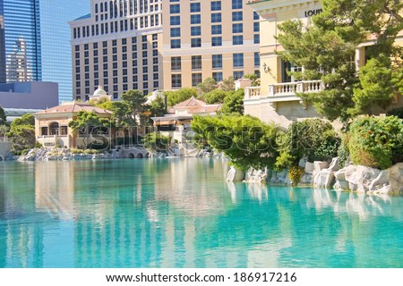 LAS VEGAS, NEVADA, USA - OCTOBER 21, 2013 : Fountain in Bellagio Hotel in Las Vegas, Bellagio Hotel and Casino opened in 1998. This luxury hotel owned by MGM Resorts International