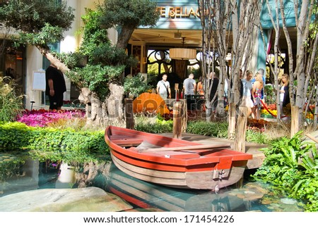 LAS VEGAS, NEVADA, USA - OCTOBER 21, 2013 : In a greenhouse at Bellagio Hotel in Las Vegas, Bellagio Hotel and Casino opened in 1998. This luxury hotel owned by MGM Resorts International