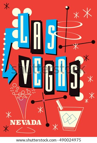 Las Vegas Nevada vintage style travel poster featuring cocktail drinks and lights.