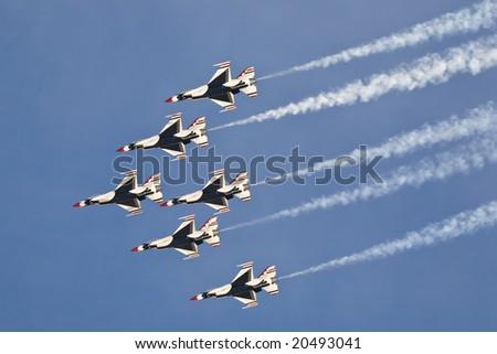 LAS VEGAS - NOV 7:  US Air Force Thunderbirds demonstration team performs at Aviation Nation 2008 Airshow, November 7, 2008, Nellis AFB, Las Vegas, NV