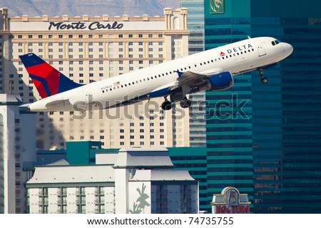 LAS VEGAS - NOVEMBER 12: A320 Delta Air Lines taking of from McCarran Airport located in Las Vegas, USA on November 12, 2010 Delta is one of the major US airlines and one of the biggest in the world