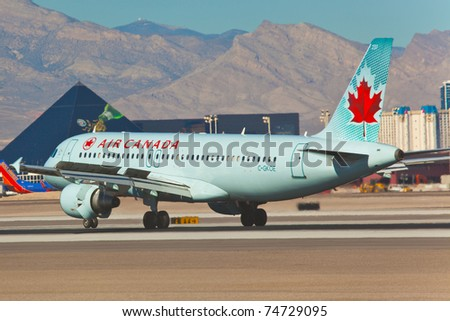 LAS VEGAS - NOVEMBER 14:Boeing 767 Air canada landing on McCarran airport in Las Vegas on November 14, 2010 Air Canada is the flag carrier and largest airline of Canada. The airline, founded in 1936