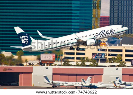 LAS VEGAS - NOVEMBER 12: Boeing 767 Alaska climbs after take off from McCarran in Las Vegas, USA on November 12, 2010. Alaska's route system spans more than 92 cities in United States, Canada, and Mexico