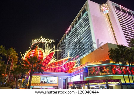 LAS VEGAS - NOVEMBER 08: The Flamingo hotel and casino sign on November 08, 2012 in Las Vegas. Las Vegas in 2012 is projected to break the all-time visitor volume record of 39-plus million visitors