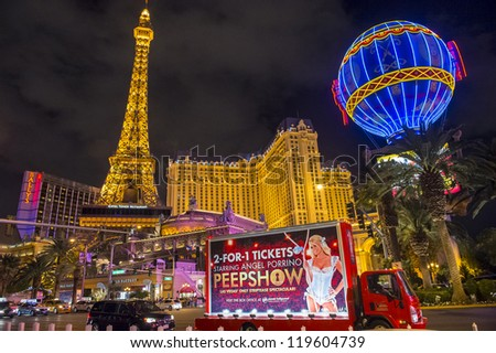 LAS VEGAS - NOVEMBER 08: The Paris Las Vegas hotel and casino on November 08, 2012 in Las Vegas. Las Vegas in 2012 is projected to break the all-time visitor volume record of 39-plus million visitors