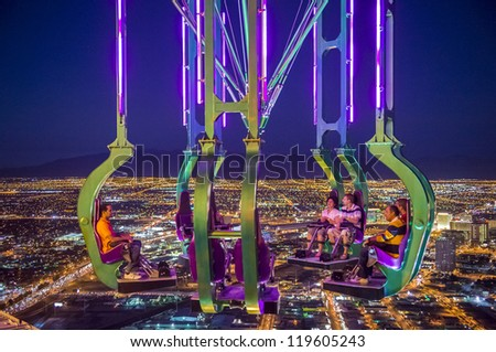 LAS VEGAS - NOVEMBER 08: The x-stream thrill ride  on November 08, 2012 in Las Vegas. Las Vegas in 2012 is projected to break the all-time visitor volume record of 39-plus million visitors