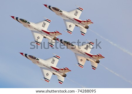 LAS VEGAS - NOVEMBER 13: USAF Thunderbirds formation diamond using the newest version of th f-16 block 52 during Aviation Nation at Nellis Air Force Base on November 13, 2010 in Las Vegas, NV
