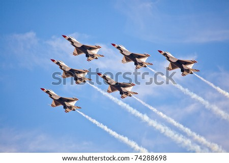 LAS VEGAS -NOVEMBER 13: USAF Thunderbirds formation diamond using the newest version of th f-16 block 52 during Aviation Nation at Nellis Air Force Base on November 13, 2010 in Las Vegas, NV