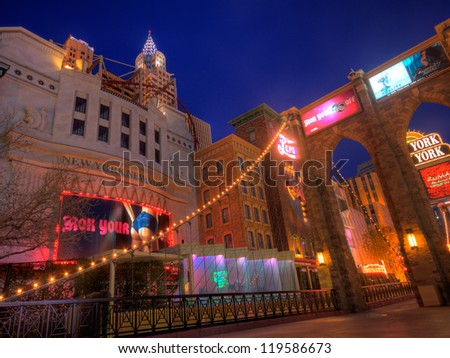 LAS VEGAS, NV - FEBRUARY 15:  Las Vegas Hotel & Casino New York New York lights up the strip and offers gaming and provides over 2,000 guest rooms on February 15, 2012 in Las Vegas, NV