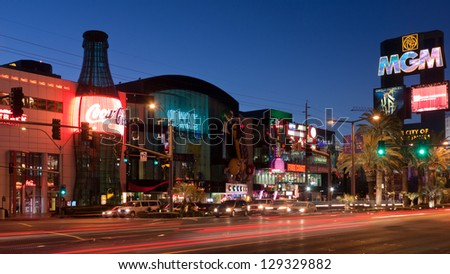 LAS VEGAS, NV - FEBRUARY 17:  Neon lights and traffic on the Las Vegas Strip in the early morning, just days before a shootout that killed three - Las Vegas, NV - February 17, 2013.