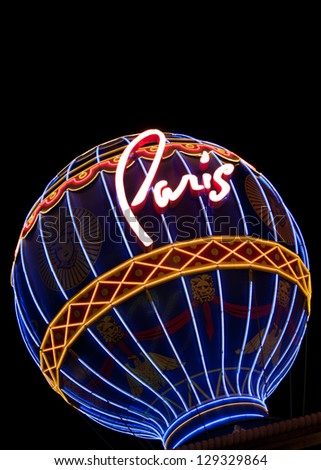 LAS VEGAS, NV - FEBRUARY 17:  Replica of Montgolfier balloon serves as a beacon for the Paris Las Vegas Hotel & Casino days before fatal shooting of rap artist on February 17, 2013 in Las Vegas, NV