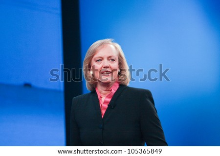 LAS VEGAS, NV - JUNE 5, 2012: HP president and chief executive officer Meg Whitman delivers an address to HP Discover 2012 conference on June 5, 2012 in Las Vegas, NV