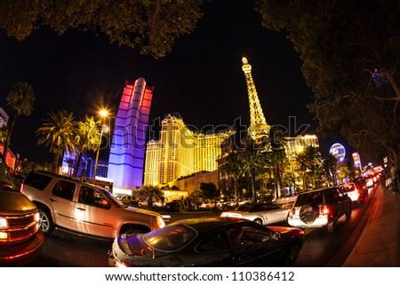 LAS VEGAS, NV - JUNE 15: the strip and Paris Las Vegas hotel   on June 15, 2012 in Las Vegas, Nevada, USA. The hotel includes a half scale, 541-foot (165 m) tall replica of the Eiffel Tower