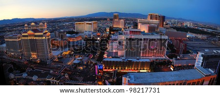 LAS VEGAS, NV - MAR 4: Vegas Strip aerial view at dusk on March 4, 2010 in Las Vegas, Nevada. The Las Vegas Strip is 3.8 mile stretch featured with world class hotels and casino.