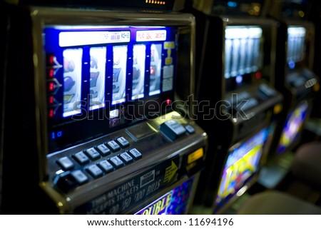 Las Vegas, NV March 2008:  Horizontal image of slot machines at a Las Vegas Casino.