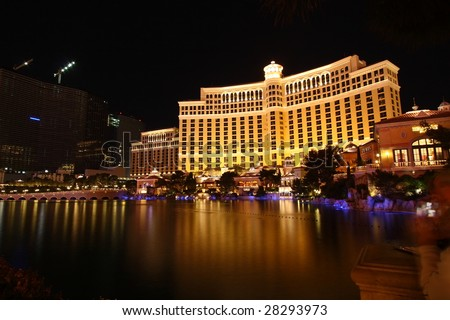 LAS VEGAS, NV - MARCH 30: Visitors enjoy a fantastic view of the lagoon at the Bellagio in Las Vegas Nevada on March 30, 2009