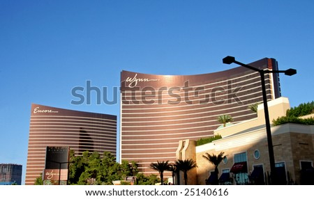 Las Vegas, NV - SEPT 01: Full shot of Encore and Wynn hotels.  Encore is the addition to the Wynn hotel due to open in Dec. 2008.  Sept. 01, 2008 in Las Vegas, NV.