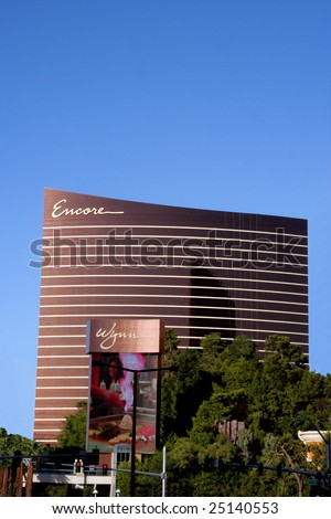 Las Vegas, NV - SEPT 01: Full shot of Encore hotel with the Wynn sign.  Encore is the addition to the Wynn hotel due to open in Dec. 2008.  Sept. 01, 2008 in Las Vegas, NV.