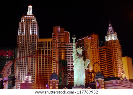 LAS VEGAS - OCTOBER 29: New York New York Hotel and Casino on October 29, 2011 in Las Vegas. The New York New York opened in the year 1997 and features a replica of the Statue of Liberty.