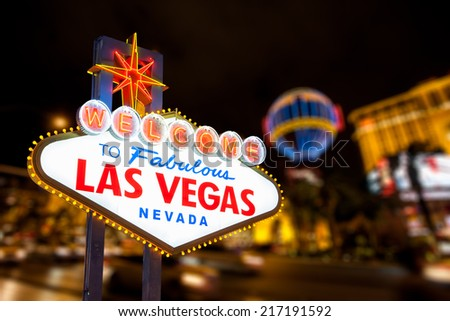 Las vegas sign and strip street background. #217191592