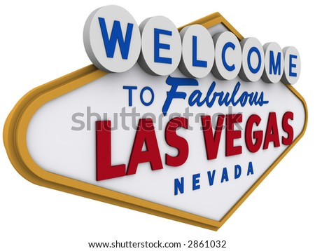 Las Vegas Sign in white background, easy to isolate.