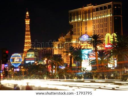 Las Vegas Street Scene with blurred traffic