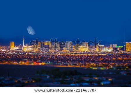 Las Vegas Strip and the Moon. Las Vegas Panorama at Night. Nevada, United States.