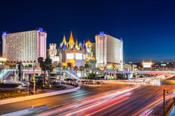 Las Vegas strip cityscape in Nevada sunset USA