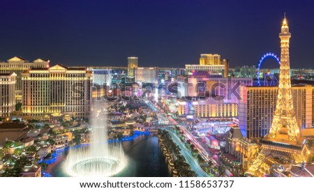 Las Vegas strip skyline in Nevada as seen at night, USA. #1158653737