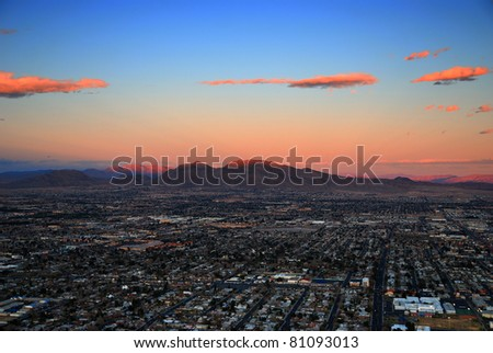 Las Vegas sunset aerial view with building street and mountains