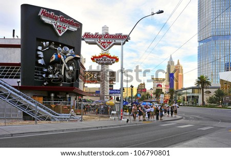 LAS VEGAS, US - OCTOBER 11: Harley Davidson Cafe in The Strip on October 11, 2011 in Las Vegas, US. In the facade there is a 7.1:1 scale replica Sportster weighing 1,200 lbs and measuring 32 feet