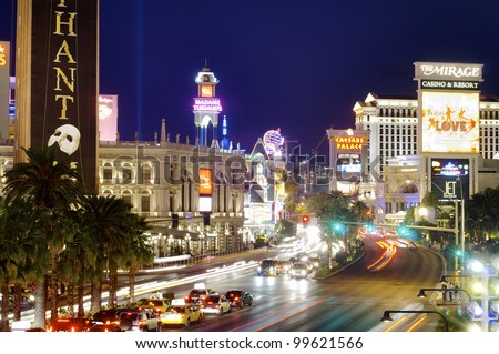 LAS VEGAS, USA - SEPTEMBER 1: Neon on September 1, 2007 in Las Vegas: view of Las Vegas Boulevard, with 4.2 miles in length is the most popular street of the city and is packed with casinos and hotels