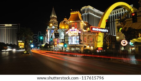 LAS VEGAS,  USA - SEPTEMBER 21: Road near Casino Royale on September 21, 2011 in Las Vegas. Located on Las Vegas Strip, Nob Hill casino was closed in 1990 to be reopened in 1992 as Casino Royale. - stock photo