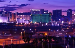 Las Vegas - Vages Strip at Night Panorama. Famous Cities Photo Collection. Las Vegas, Nevada, USA.