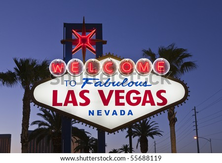 Las Vegas Welcome sign in late evening light. - stock photo