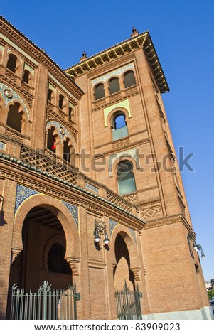 Las Ventas. Famous bullfighting arena in Madrid. Touristic attraction in Spain.